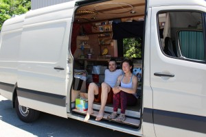 Alex and Tina perch on their porch #vanlife