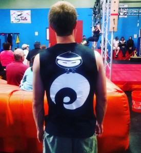 Wieboldt sports a custom made EVO Rock + Fitness shirt for the comp