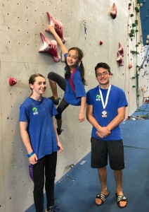 Kaitlyn, Anabelle, and Max (left to right) USA Climbing Youth National Competitors 2017
