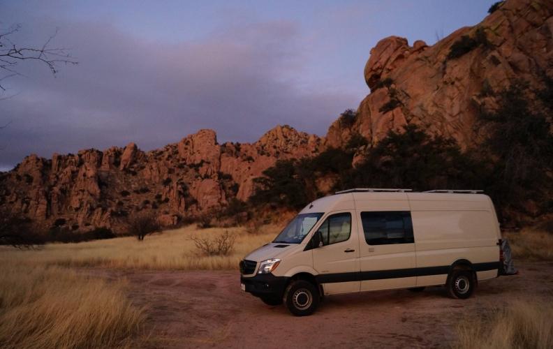 Local Limelight: Tina, Alex, and the van.