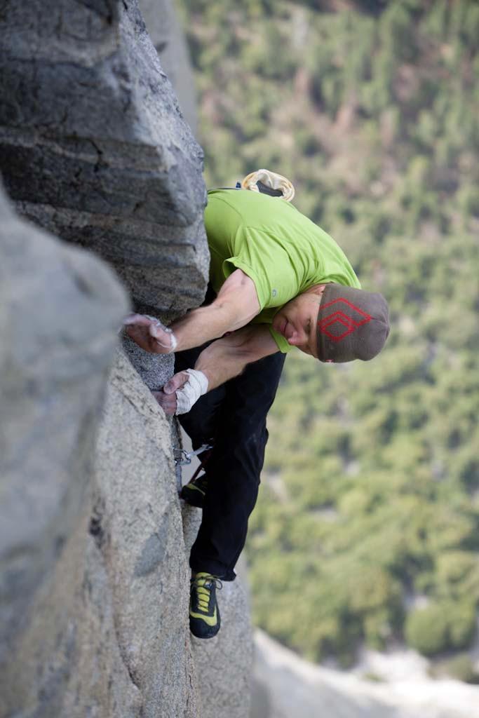 Tommy Caldwell and Justin Sjong attempt to free climb Magic Mushroom (A3 5.7) on El Capitan, Yosemite National Park.